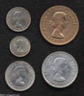 Australia: , Australia: Elizabeth II Five-piece Melbourne and Perth Proof Set1957, Melbourne Threepence, Sixpence, Shilling, and Florin, and aPert... (Total: 5 coins Item)