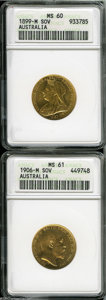 Australia: , Australia: Gold Sovereign Pair, Victoria KM13 veiled head 1899-M,MS60 ANACS and Edward VII KM15 1906-M, MS61 ANACS.... (Total: 2coins Item)