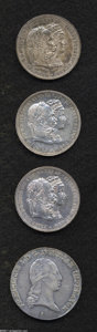 Austria: , Austria: Franz Joseph I 2 Florins 1879 - Trio, KM-M5, struck tocommemorate the Silver Wedding Anniversary, three pieces, all tonedX... (Total: 4 coins Item)