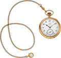 Timepieces:Pocket (post 1900), Agassiz 14k Gold Watch, Two Tone 14k Gold Chain. ...