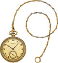 Timepieces:Pocket (post 1900), Hamilton Heavy 14k Gold Grade 920, 14k Gold Two Tone Chain. ...