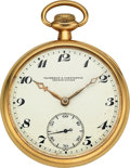 Timepieces:Pocket (post 1900), Vacheron & Constantin 14k Gold Pocket Watch, circa 1915. ...