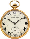 Timepieces:Pocket (post 1900), International Watch Co. 18k Gold Watch For J.E. Caldwell & Co., circa 1930. ...