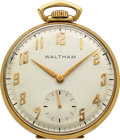 Timepieces:Pocket (post 1900), Waltham 21 Jewel 14k Gold Colonial, circa 1950. ...