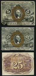Fractional Currency:First Issue, First Issue Specimens Three Examples About New.. ... (Total: 3notes)