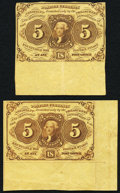 Fractional Currency:First Issue, Fr. 1230 5¢ First Issue Two Examples Very Fine-Extremely Fine.. ...(Total: 2 notes)