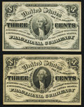 Fractional Currency:Third Issue, Fr. 1226 3¢ Third Issue;. Fr. 1227 3¢ Third Issue.. Choice New.. ... (Total: 2 notes)