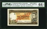 Australia Commonwealth Bank of Australia 10 Shillings ND (1954-60) Pick 29s R16 Specimen PMG Choice Uncirculated 6