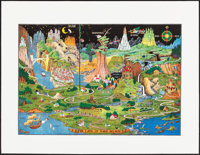 "The Land of Make-Believe by Jaro Hess (Hagstrom Map Company, 1982). Rolled, Very Fine+. Reproduction Art Print (33""..."