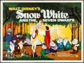 """Movie Posters:Animation, Snow White and the Seven Dwarfs (Walt Disney Productions, R-1960s). Folded, Fine/Very Fine. British Quad (30"""" X 40""""). Animat..."""