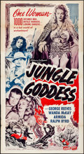 """Movie Posters:Adventure, Jungle Goddess (Screen Guild Productions, 1948). Folded, Fine/Very Fine. Three Sheet (41"""" X 76""""). Adventure. From the pers..."""