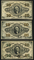 Fractional Currency:Third Issue, 10¢ Third Issue Three Examples.. ... (Total: 3 notes)