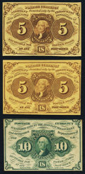 Fractional Currency:First Issue, Second Issue Notes Three Examples Very Fine or Better.. ... (Total:3 notes)
