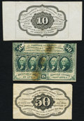 Fractional Currency:First Issue, First Issue Specimens Three Examples.. ... (Total: 3 notes)