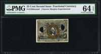 Fr. 1286 25¢ Narrow Margins Experimental Second Issue PMG Choice Uncirculated 64 EPQ