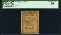 Continental Currency February 17, 1776 $2/3 PCGS Extremely Fine 40