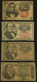 Fractional Currency:Fifth Issue, Fr. 1265 10¢ Fifth Issue Good;. Fr. 1308 25¢ Fifth Issue Two Examples Good;. Fr. 1379 50¢ Fourth Issue Dexter Good.... (Total: 4 notes)