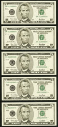 Small Size:Federal Reserve Notes, Fr. 1988-K* $5 2001 Federal Reserve Star Notes. Five Consecutive Examples. Gem Crisp Uncirculated.. ... (Total: 5 notes)