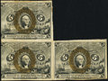 Fractional Currency:Second Issue, Fr. 1234 5¢ Second Issue Partial Block of Three Fine-Very Fine.. ...