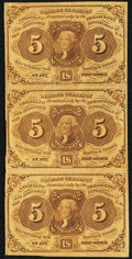 Fractional Currency:First Issue, Fr. 1230 5¢ First Issue Vertical Strip of Three Very Fine.. ...