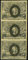 Fractional Currency:Second Issue, Fr. 1233 5¢ Second Issue Vertical Strip of Three Fine-Very Fine.. ...