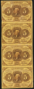 Fr. 1230 5¢ First Issue Vertical Strip of Four Very Good-Fine