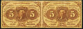 Fractional Currency:First Issue, Fr. 1230 5¢ First Issue Horizontal Pair Very Fine.. ...