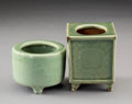 Ceramics & Porcelain, Two Chinese Celadon Glazed Earthenware Censers, Ming Dynasty. 3-3/8 x 2-5/8 x 2-5/8 inches (8.6 x 6.7 x 6.7 cm) (larger, pla... (Total: 2 Items)