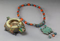 Jewelry, Two Chinese Silver, Enamel, and Hardstone Decorative Articles, . 19th-20th century. Marks to dish: SILVER. 14-3/8 x 2-1/... (Total: 2 Items)
