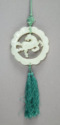 Jewelry, A Chinese White Jade Horse Pendant, Qing Dynasty. 19-1/4 x 2-1/2 x 1/4 inches (48.9 x 6.4 x 0.6 cm) (including cord and tass...