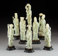 Carvings, A Set of Eight Chinese Pale Jade Figures Depicting the Tao...