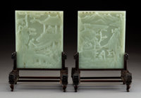 A Pair of Chinese White Jade, Hardwood, and Partial Gilt Table Screens, late 19th-early 20th century 12 x 8-3/4 x ... (T...
