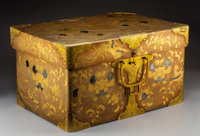 An Imperial Japanese Maki-e Lacquered Wedding Chest with Brass and Silver Inlays and Brass Hardware, 19th century