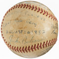 Autographs:Baseballs, 1952 Brooklyn Dodgers Multi-Signed Baseball with Jackie Robinson (9 Signatures)....