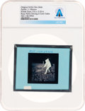 Explorers:Space Exploration, Apollo 11 Original NASA Glass Film Slide, an Image of Buzz Aldrin Driving in Core Tubes, Directly From The Armstrong Famil...