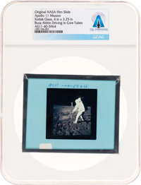 Apollo 11 Original NASA Glass Film Slide, an Image of Buzz Aldrin Driving in Core Tubes, Directly From The Armstro