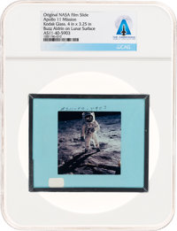 Apollo 11 Original NASA Glass Film Slide, an Image of Buzz Aldrin on Lunar Surface, Directly From The Armstrong Fa
