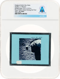 Apollo 11 Original NASA Glass Slide, an Image of Aldrin's Boot on the Lunar Surface, Directly From The Armstrong F