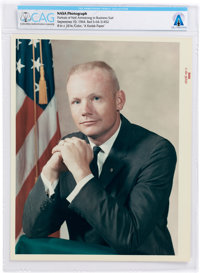 """Neil Armstrong: Original NASA 1964 """"Red Number"""" Business Suit Pose Color Photograph Directly From The Armstron..."""