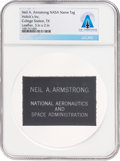 Explorers:Space Exploration, Neil Armstrong's Personal NASA Leather Name Tag Directly From The Armstrong Family Collection™, CAG Certified. ...