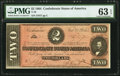 Confederate Notes:1864 Issues, T70 $2 1864 PMG Choice Uncirculated 63 EPQ.. ...