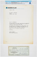 Explorers:Space Exploration, Neil Armstrong: 1974 Diners Club Typed Signed Rejection Letter withReturned Signed $15.00 Check Directly From The Armstro...