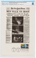 "Explorers:Space Exploration, Philatelia: New York Times Facsimile Apollo 11 ""Men Walk on Moon"" Front Page First Day Canceled Souvenir Card Dire..."