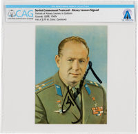 SOVIET 1970 VISIT: Cosmonaut Alexei Leonov Signed Color Photo Obtained at COSPAR XIII Directly From The Armstrong Family...