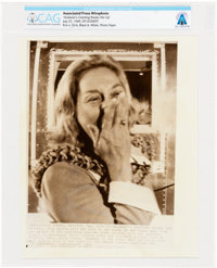 """AP ORIGINAL WIREPHOTOS: """"Husband's Greeting Breaks Her Up"""" July 27, 1969, Directly From The Armstrong Family C..."""