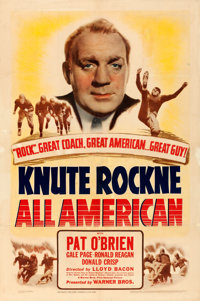 """Knute Rockne - All American (Warner Brothers, 1940). Very Good on Linen. One Sheet (27.25"""" X 41"""")"""