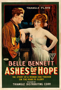 "Ashes of Hope (Triangle, 1917). Fine on Linen. One Sheet (27.75"" X 41"")"