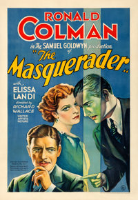 "The Masquerader (United Artists, 1933). Fine+ on Linen. One Sheet (28.25"" X 41"")"