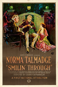 """Smilin' Through (First National, 1922). Very Fine- on Linen. One Sheet (27.25"""" X 41"""") Trio Style"""