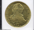 Chile: , Chile: Carlos IV gold 8 Escudos 1795-DA, KM54, Fr-23, AU Details,Net XF40 ANACS (Damaged - Cleaned). This coin has been lightlycl...